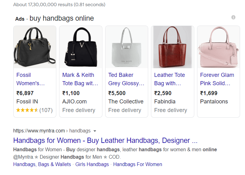 Example of shopping ads